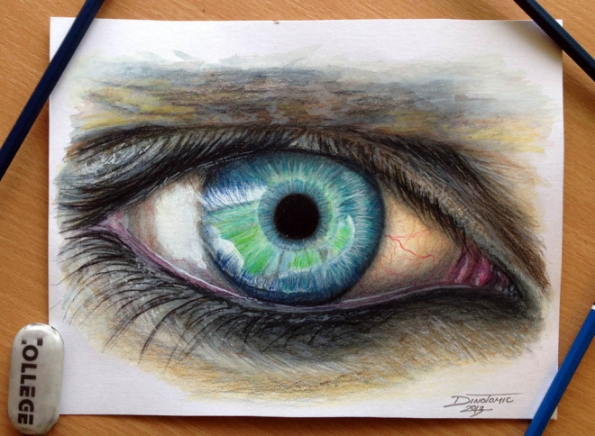 eye color pencil drawing dino_0