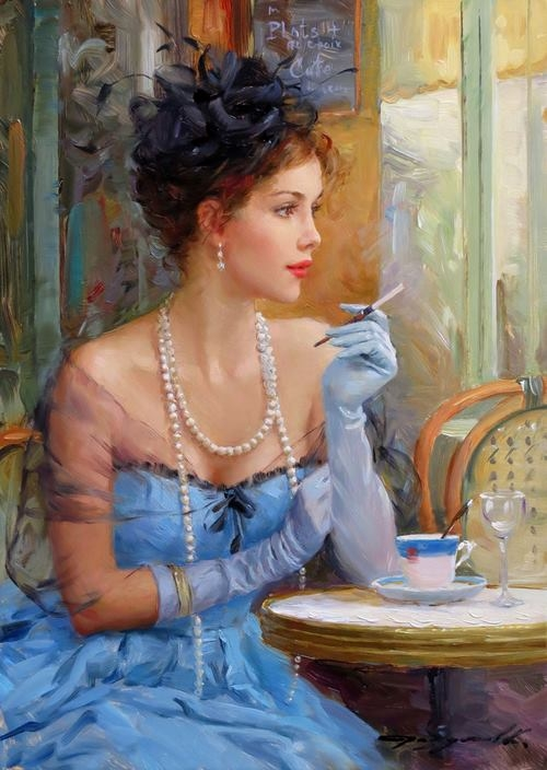 blue dressed woman paintings konstantin