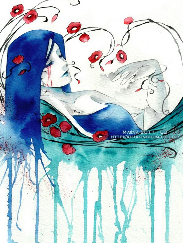 blue lady watercolor paintings maëva