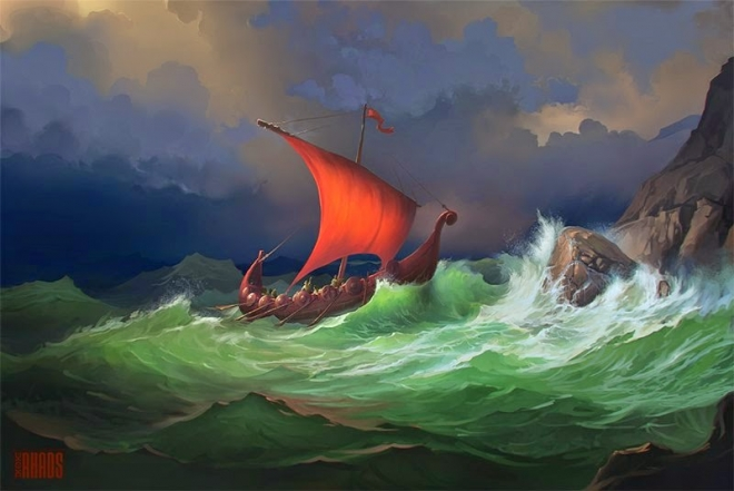 boat digital painting rhads