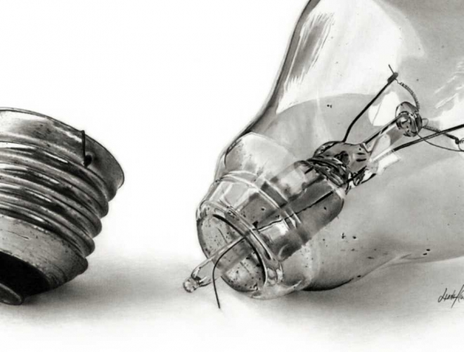 bulb pencil drawing linda huber