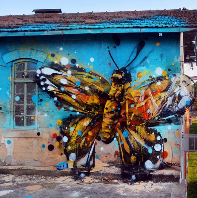 butterfly street art artur bordalo