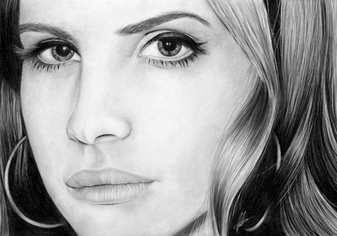 del rey pencil drawing laura