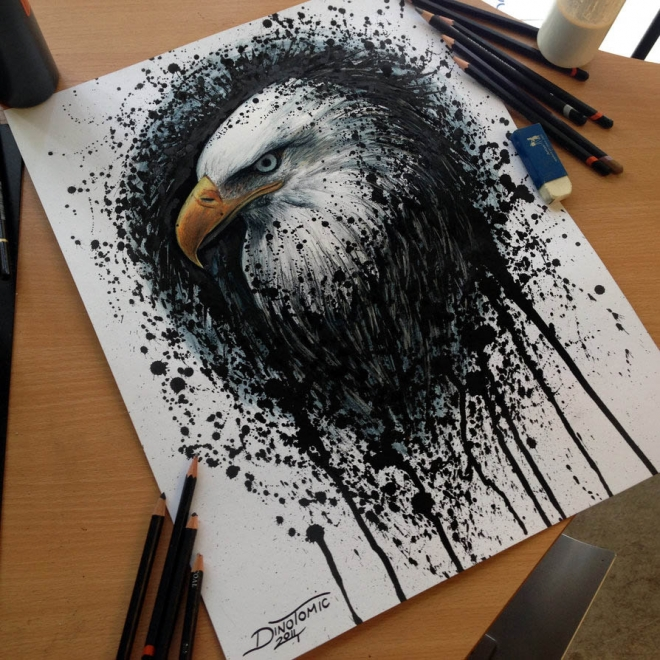 eagle color pencil drawing dino
