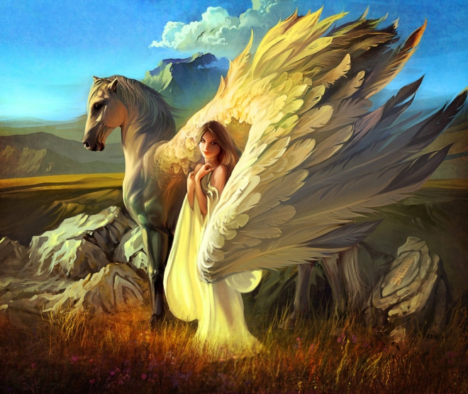 girl pegasus digital painting rhads