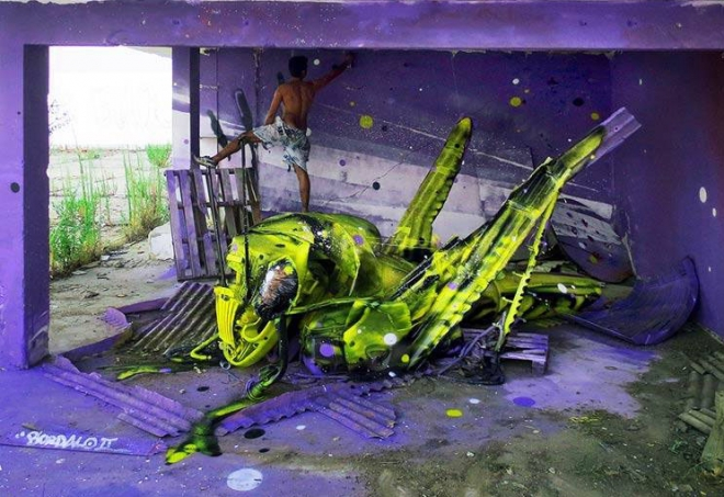 green insect street art artur bordalo