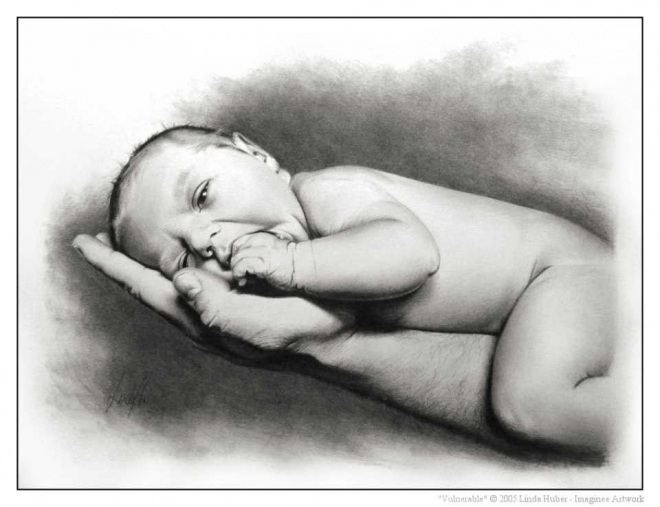 infant pencil drawing linda huber