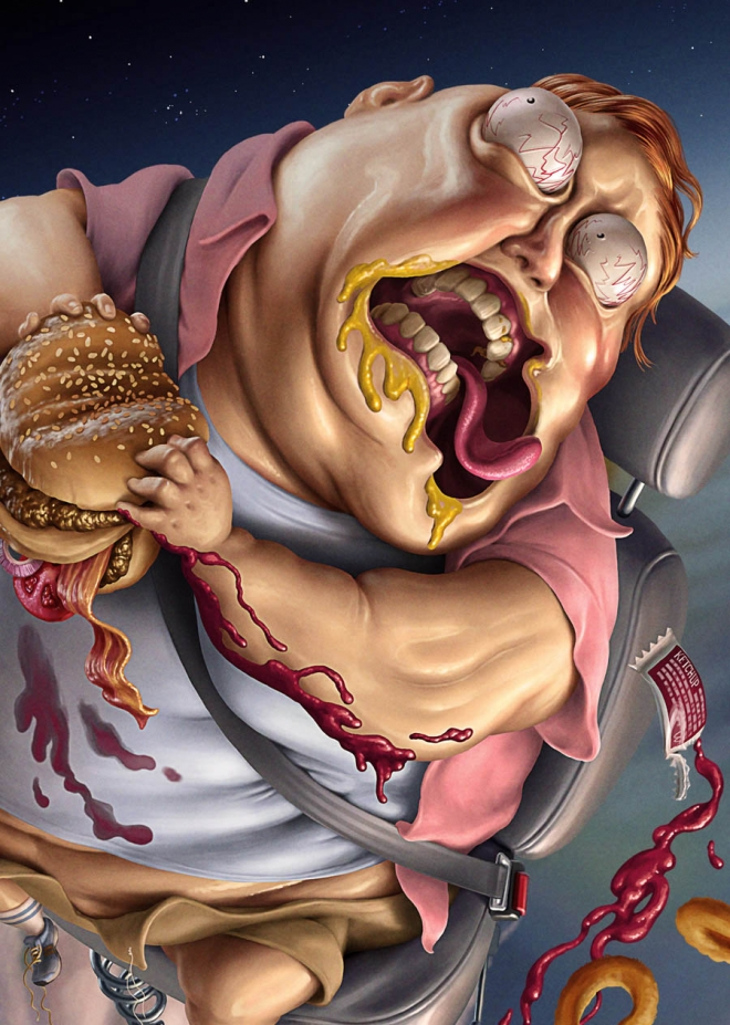 man burger digital art