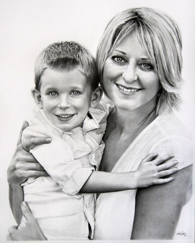 mom son pencil drawing linda huber