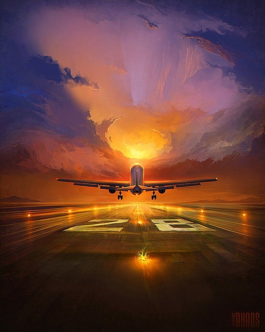 plane digital painting rhads