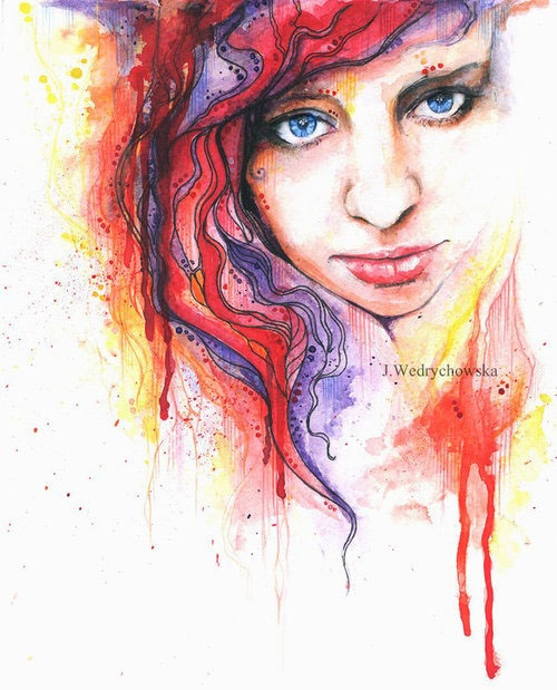 red woman watercolor paintings joanna