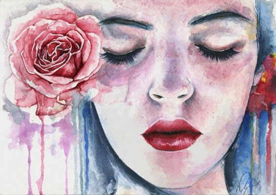 rose woman watercolor paintings joanna