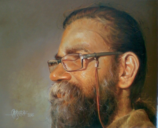 self portrait kerala painting rajasekharan