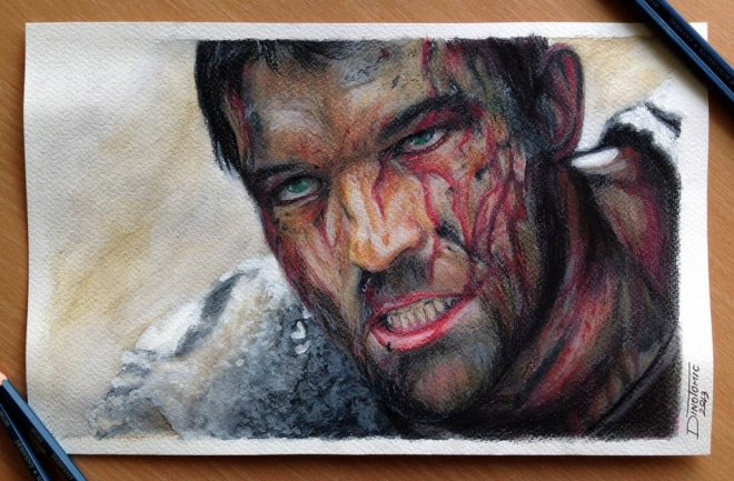 spartacus color pencil drawing dino