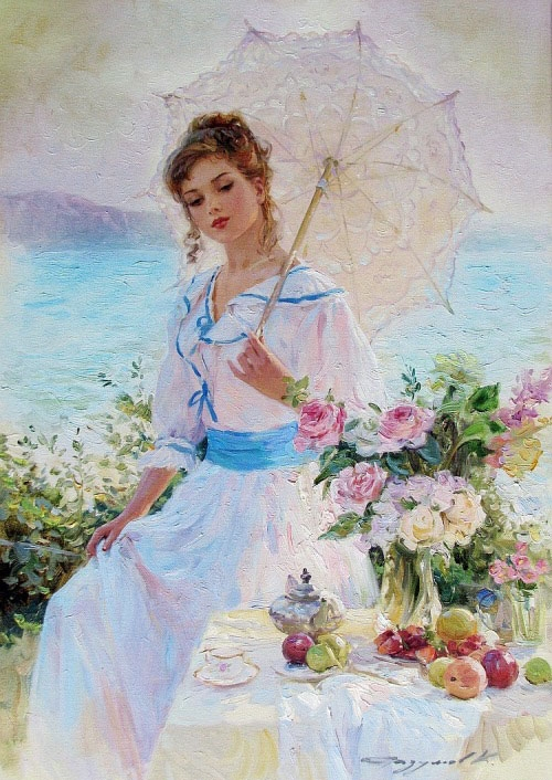 white dressed woman paintings konstantin