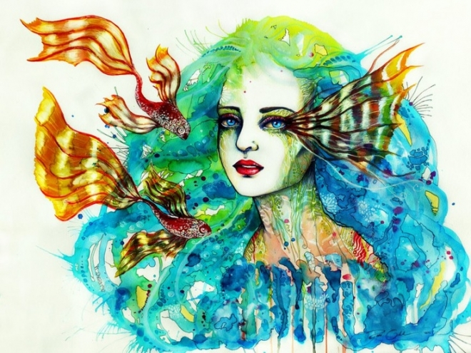 fish girl watercolor painting svenja