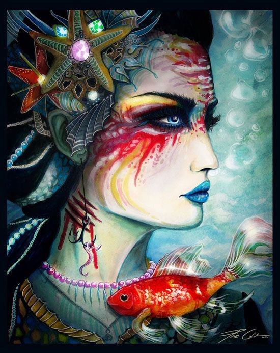 fish woman watercolor painting svenja
