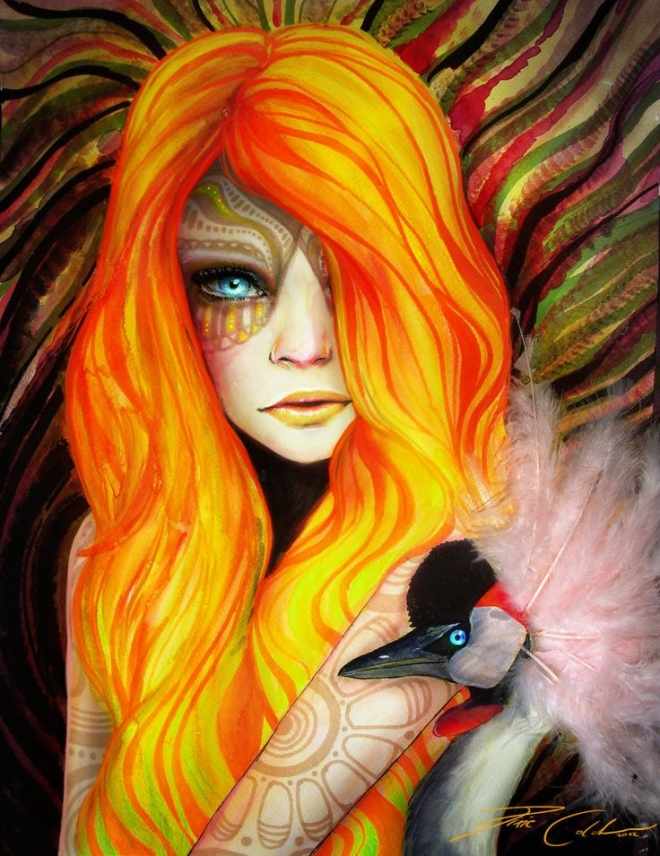 orange hair girl watercolor painting svenja