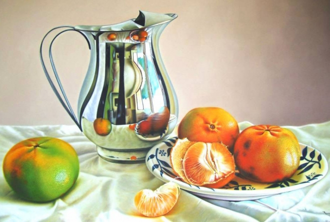 orange oil painting ruddy