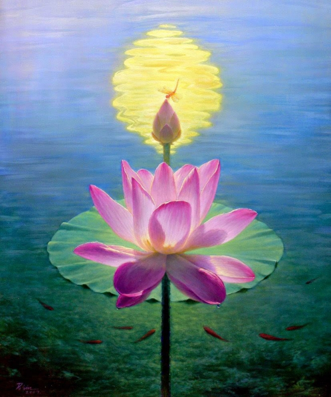 rose lotus bud painting jiang
