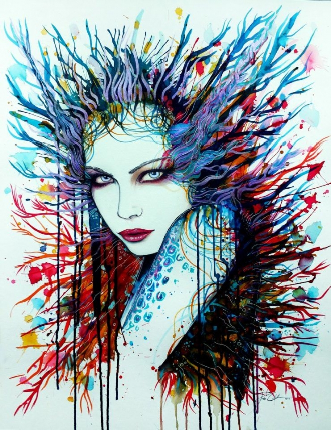 sultry woman watercolor painting svenja