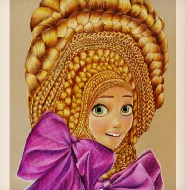disney character color pencil drawing by teresa