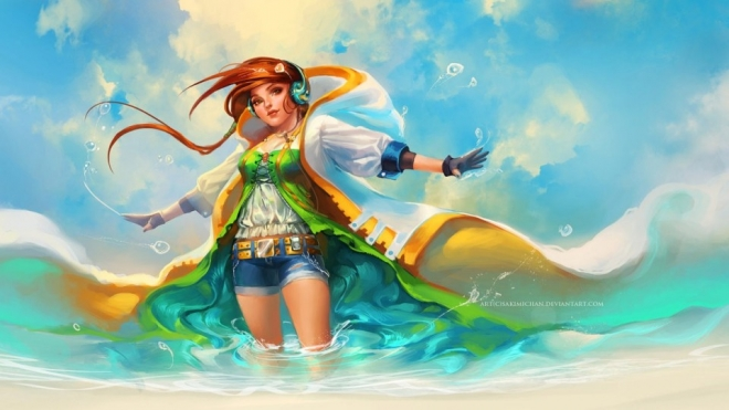 beach breeze digital art by sakimichan