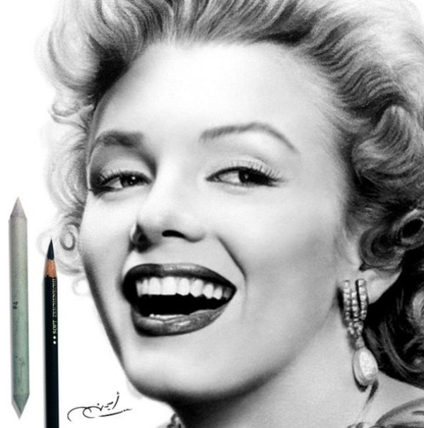 marilyn manroe pencil drawing by ayman