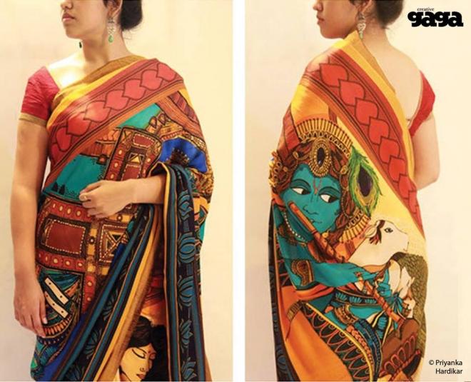 krishna saree mural painting by priyanka hardikar