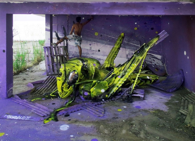insect street art by bordalo