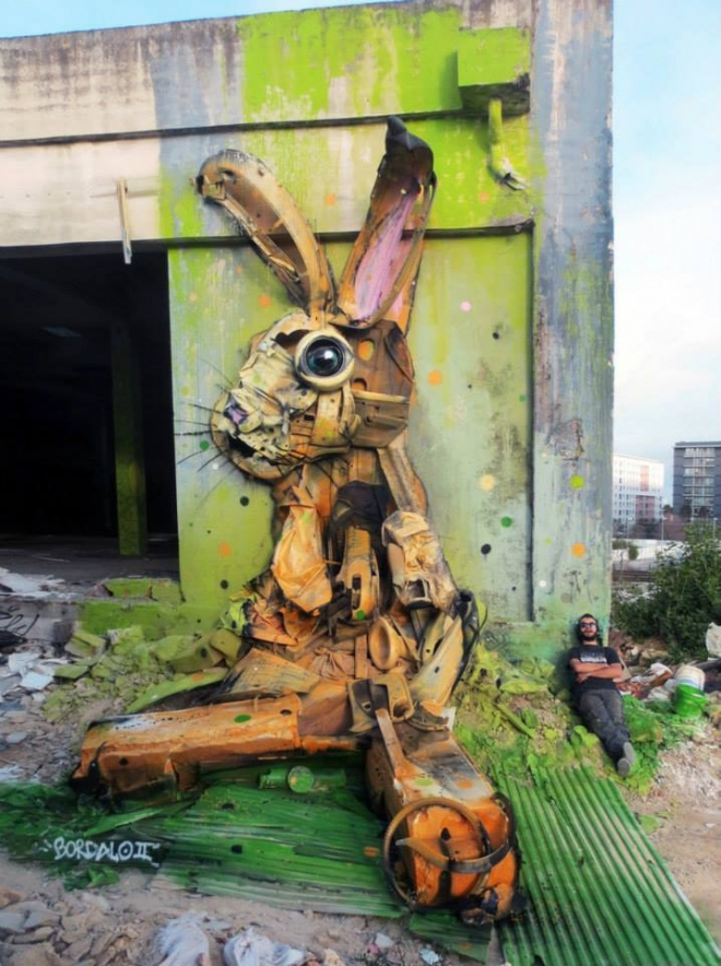 rabbit street art by bordalo