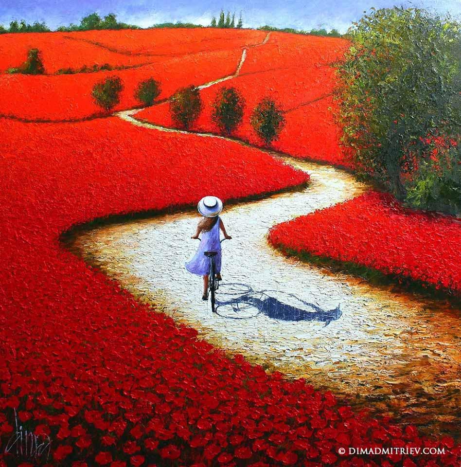 girl garden oil painting
