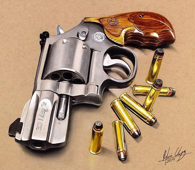 hyper realistic gun color pencil drawing