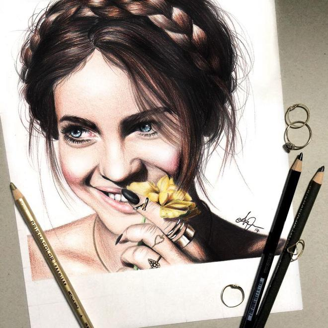 lady color pencil drawings