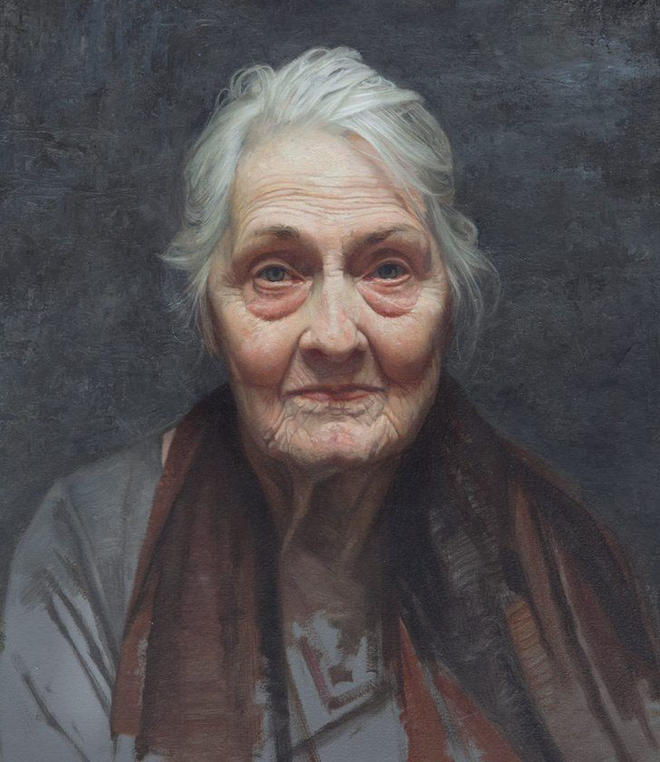 old woman portrait painting by david