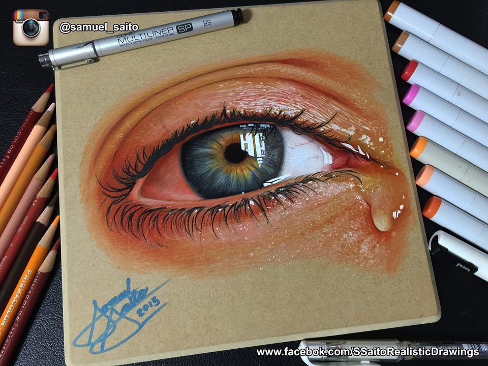 realistic eye drawing by s saito