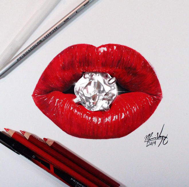 realistic lips color pencil drawing realistic lips color pencil drawing - Color Drawings