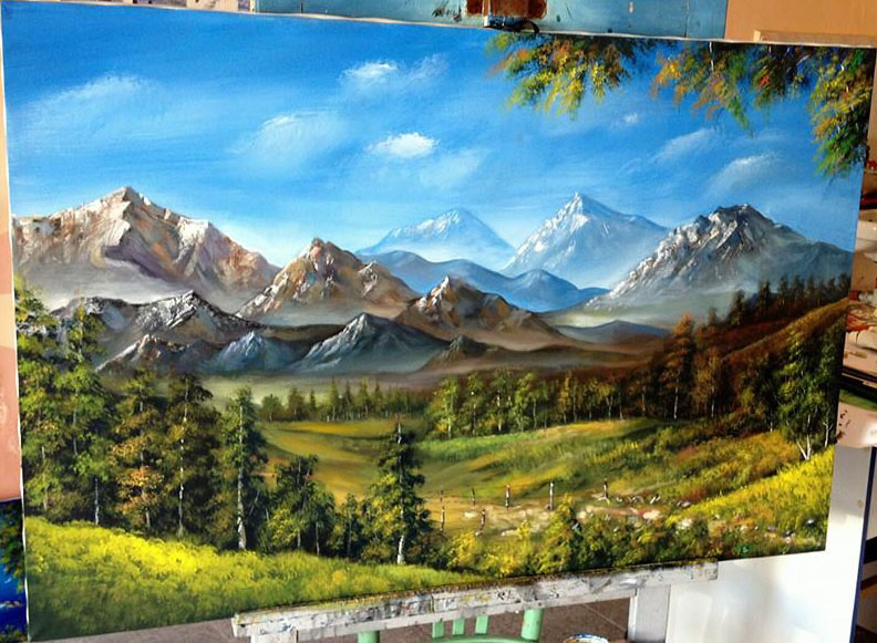 realistic mountain painting