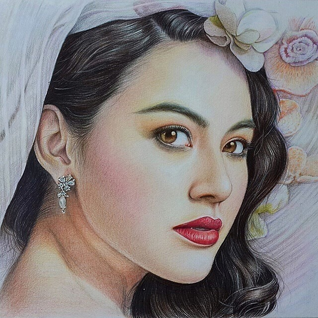 Beautiful woman color pencil drawing by mint chat