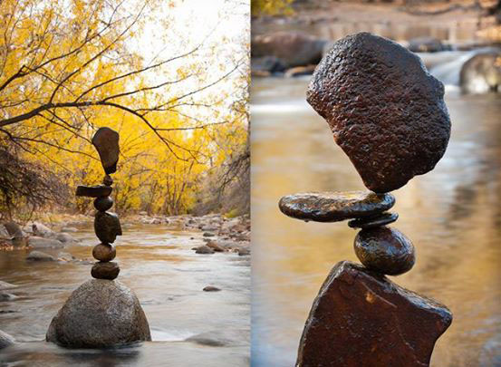 balanced rock sculpture by michael