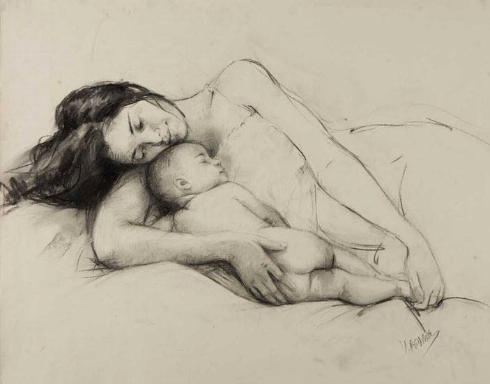 mother pencil drawing