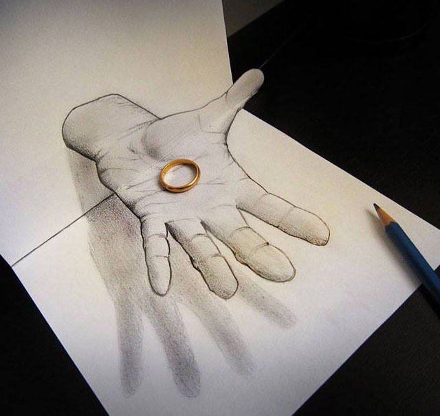 hand 3d pencil drawing