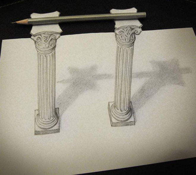 pillar 3d pencil drawings by alessandro
