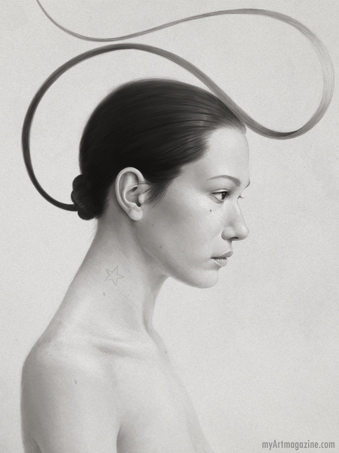 realistic pencil drawing woman by diego fernandez