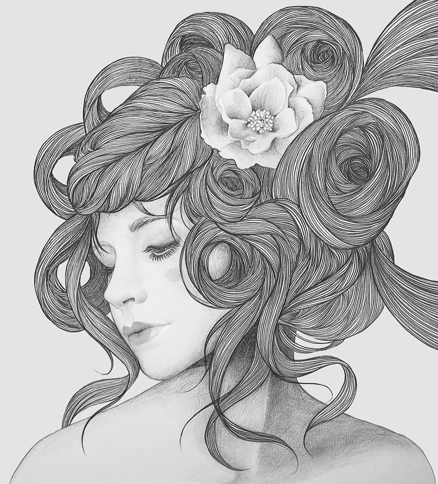 beautiful woman pencil drawing