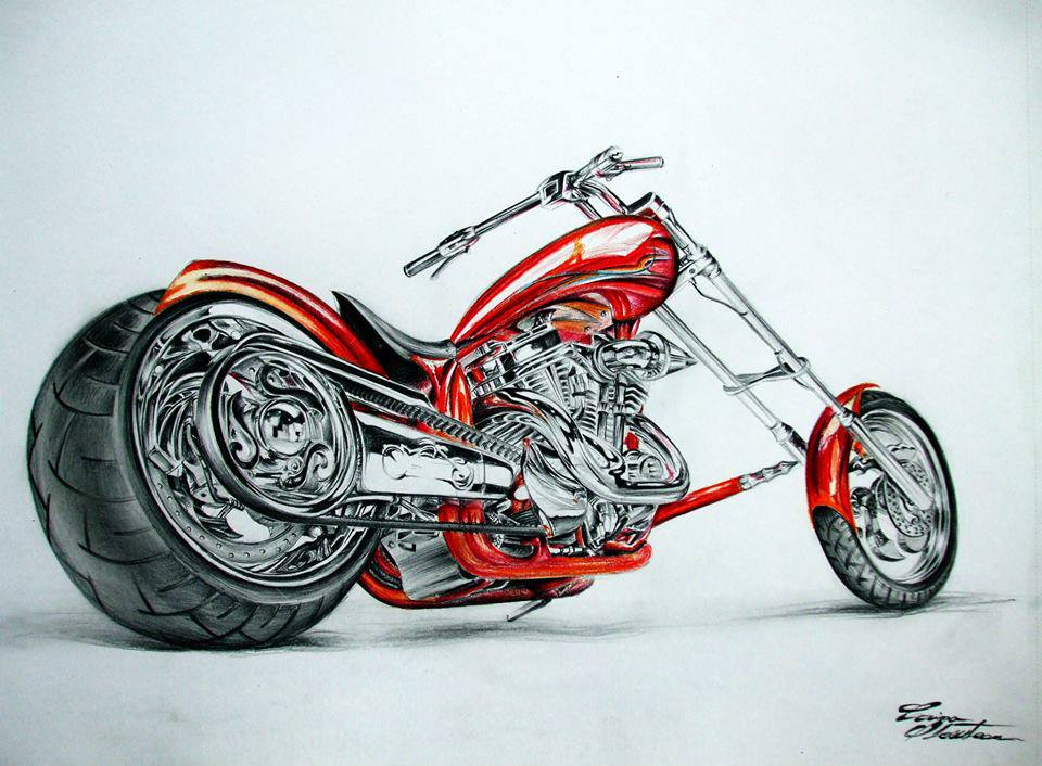 bike color pencil drawing
