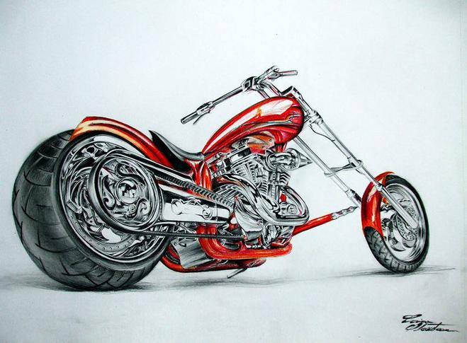 bike color pencil drawing by corina