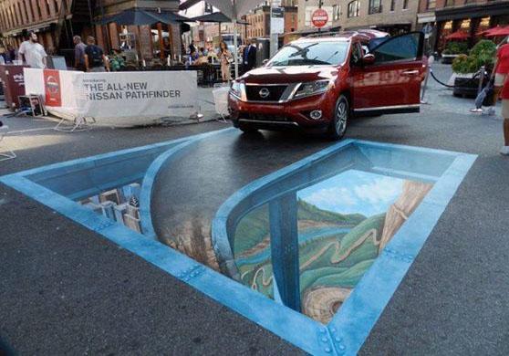 car 3d street art