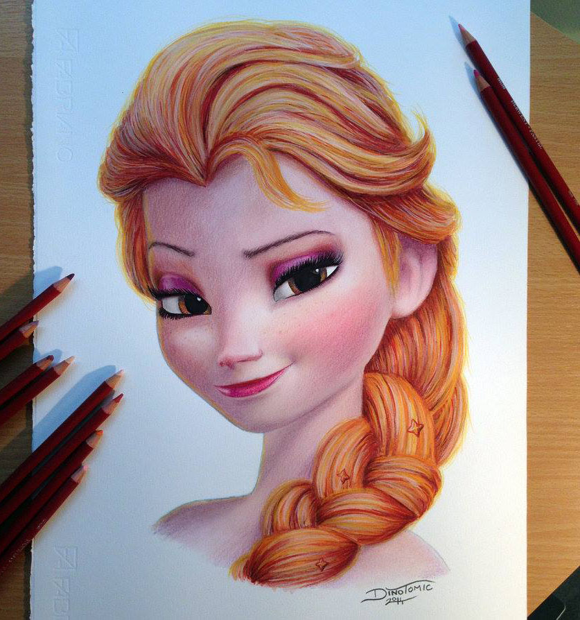 Cartoon girl color pencil drawing by dino
