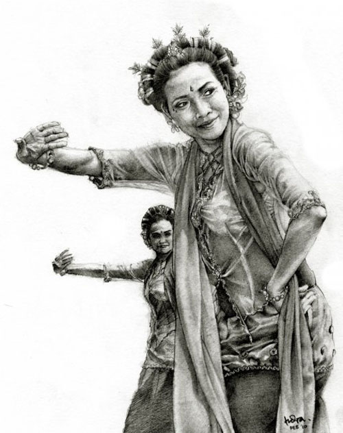 dance pencil drawing